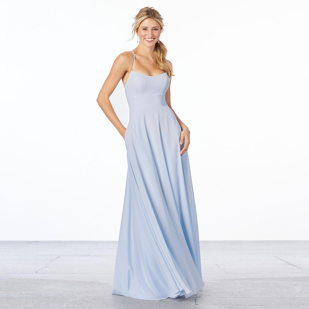 Discount Chiffon Bridesmaid Dresses Customize Simple A-line Full Length Spaghetti Straps Halter Featuring Pockets Illusion Back