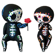 VILEAD Creative Sugar Skull Figurine Model Hand-painted Resin Toy Statue Bedroom Wedding Party Tabletop Home Interior Decoration