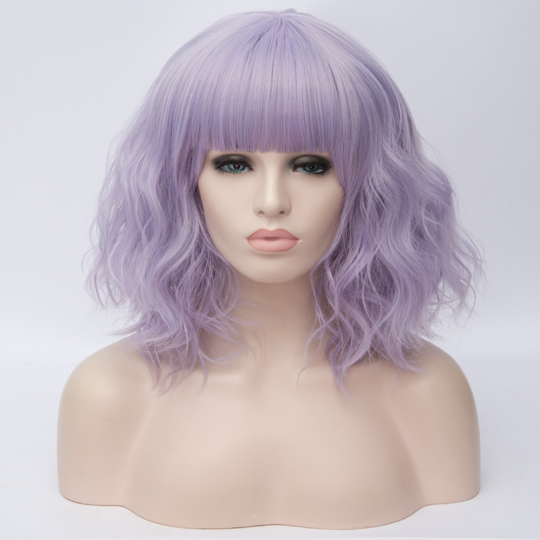Hec15e7ee16654b9b9239f658eaacec09T - Similler Short Synthetic Wig for Women Cosplay Curly Hair Heat Resistance Ombre Color Blue Purple Pink Green Orange Two Tones