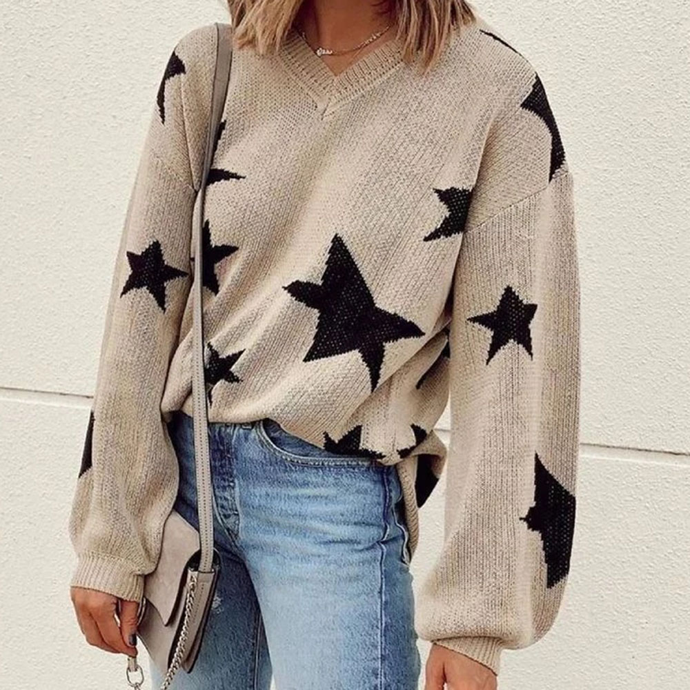 Women Knitted Sweater 2019 Winter Jumper Autumn Female Knitwear Casual Stars Print Plus Size Pullovers Ladies Knitting Sweaters