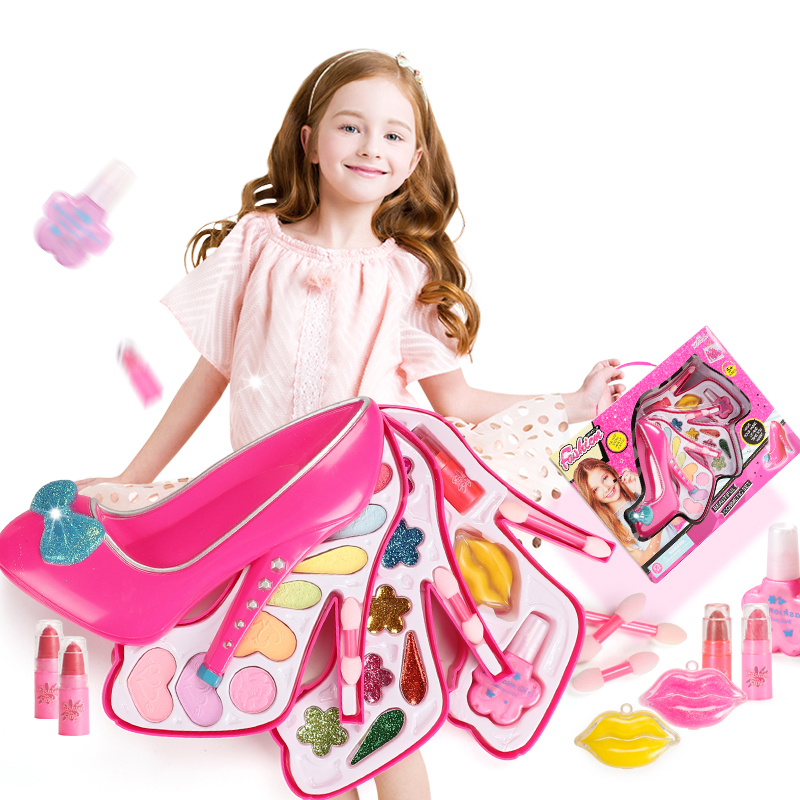 New Pretend Play Girls Gifts Cosmetics Kit Environmental Toys Makeup Set Preschool Kid Beauty Safety Toy For Kids Makeup