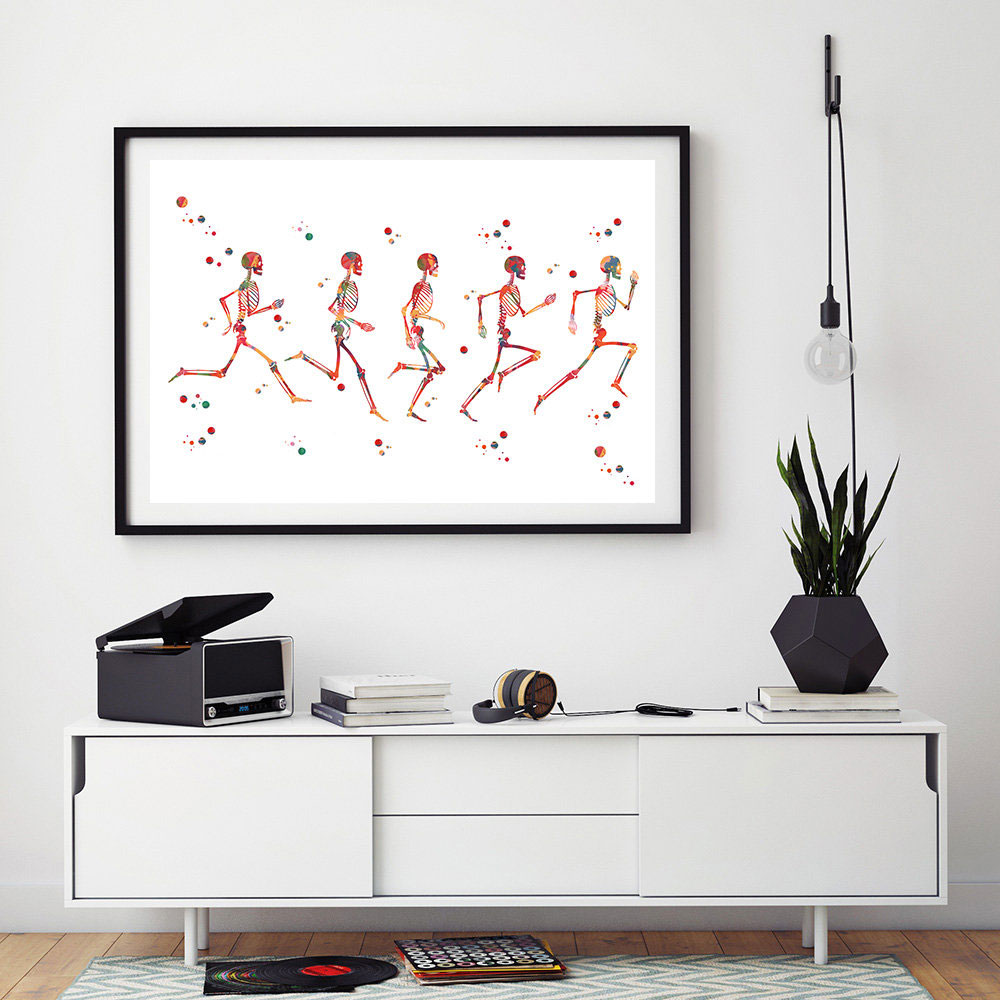 Spine Watercolor Print Skeletal System Medical Art Science Art Neurology Art