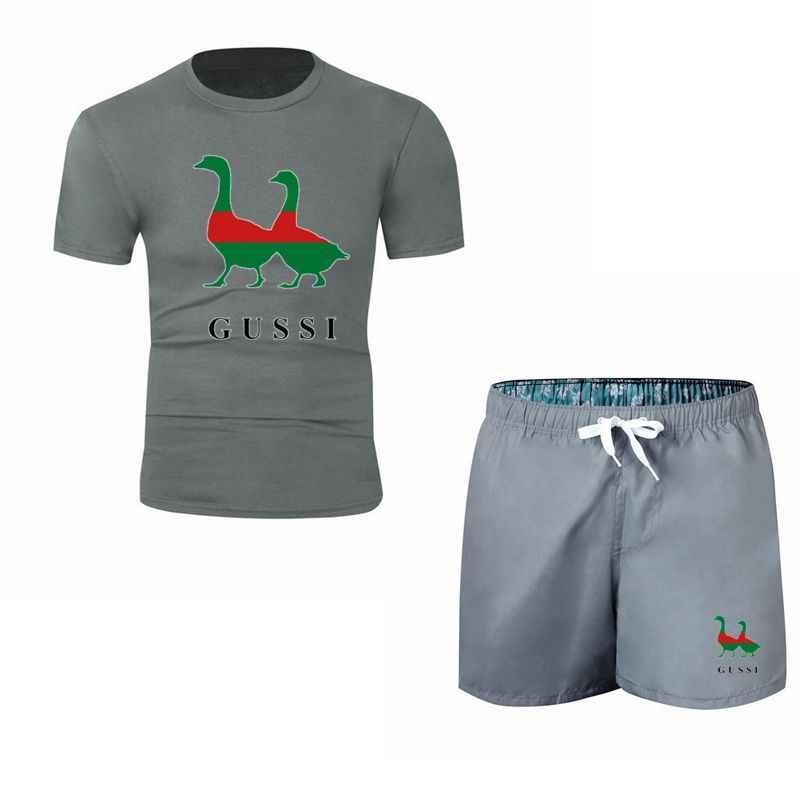 Męskie dwa gęsi śmieszne projektowania druku koszulki z krótkim rękawem + spodenki Unisex zestawy miękkie koszulki z nadrukami kobiet mężczyzn zwierząt Swag marki odzież