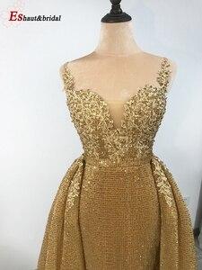 Image 5 - 2020 新着ゴールドスパンコールイブニングドレス V ネックノースリーブ取り外し可能な岬ロングパーティーウェディングドレス