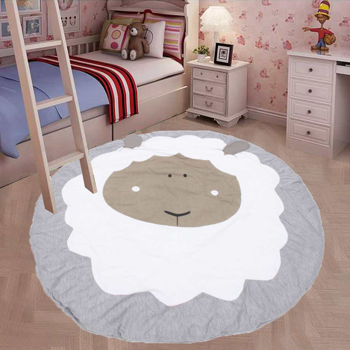 Play Mat Round Carpet Game Cartoon Pure Cotton Crawling Mat For Children Sheep Mat Blanket Carpet Children's Room Decorations