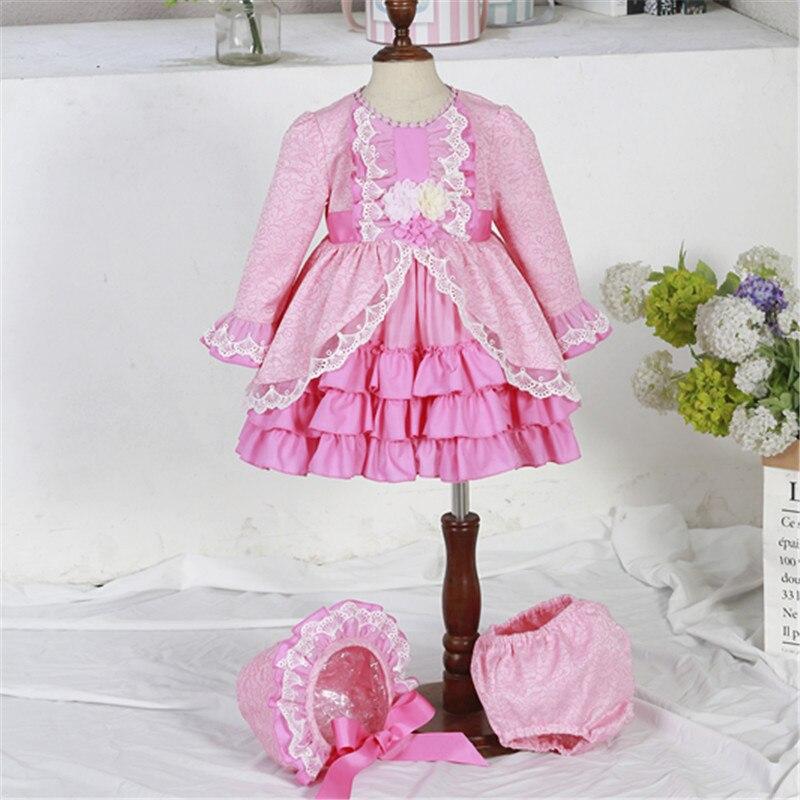 2019 New Girl Spanish Sweet Princess Dress Jacquard Lace Lace Long Sleeve Gift Dress Toddler Girl Dresses Christmas Dress Girl