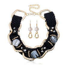 African Jewelry Large Alloy Big Chain Black Crystal Fine Trendy Necklace Earrings Wedding Jewelry Set Charm Hipster Woman(China)