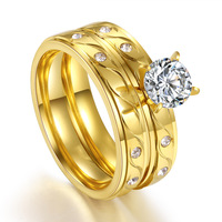 FS1356 Gilded Titanium Steel Ring with Round Large Zircon Set Ring