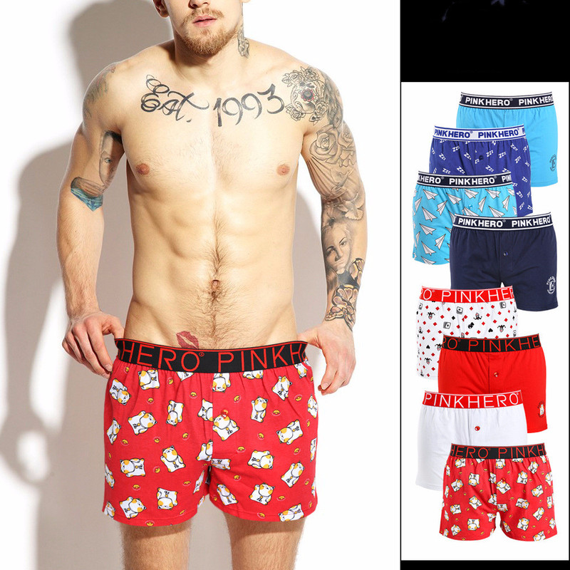 PINK HERO Men's Underwear Boxers Cotton Underpants Loose Comfortable Men's Homewear Shorts Printing Style Male Panties