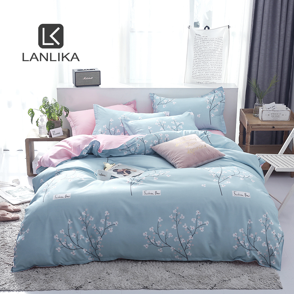 Lanlika Fresh Style Home Bedding Blue Bedspread Bedding Set Double Flat Sheet Pillowcases Euro Decor Bed Linen Stain For Adult