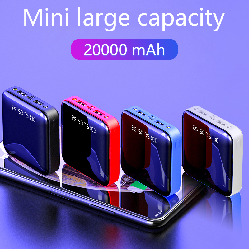 Mini <font><b>Power</b></font> <font><b>Bank</b></font> 20000mAh For Xiaomi Portable Charger Powerbank <font><b>20000</b></font> Fast Charging LED Dual USB Mi PoverBank Batterie Externe image