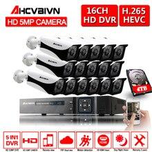 AHCVBIVN système de caméra de sécurité, 16ch AHD DVR, Kit 16 pièces, 2592x1944, 5,0 mp, infrarouge, système de vidéosurveillance dextérieur, P2P