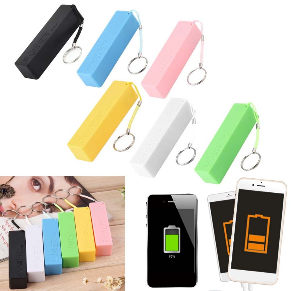 Perfume Square AC/DC Adapters Mobile Power Case Box USB 18650 Battery Cover Key Chain For iPhone For Samsung MP3 image