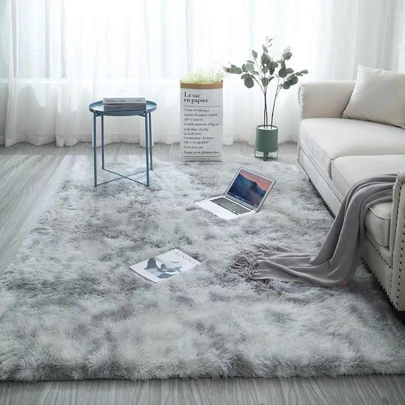 Новый европейский длинный ворс модный ковер для спальни эркер прикроватный коврик моющийся персональный одеяло градиент цвета ковер для гостиной