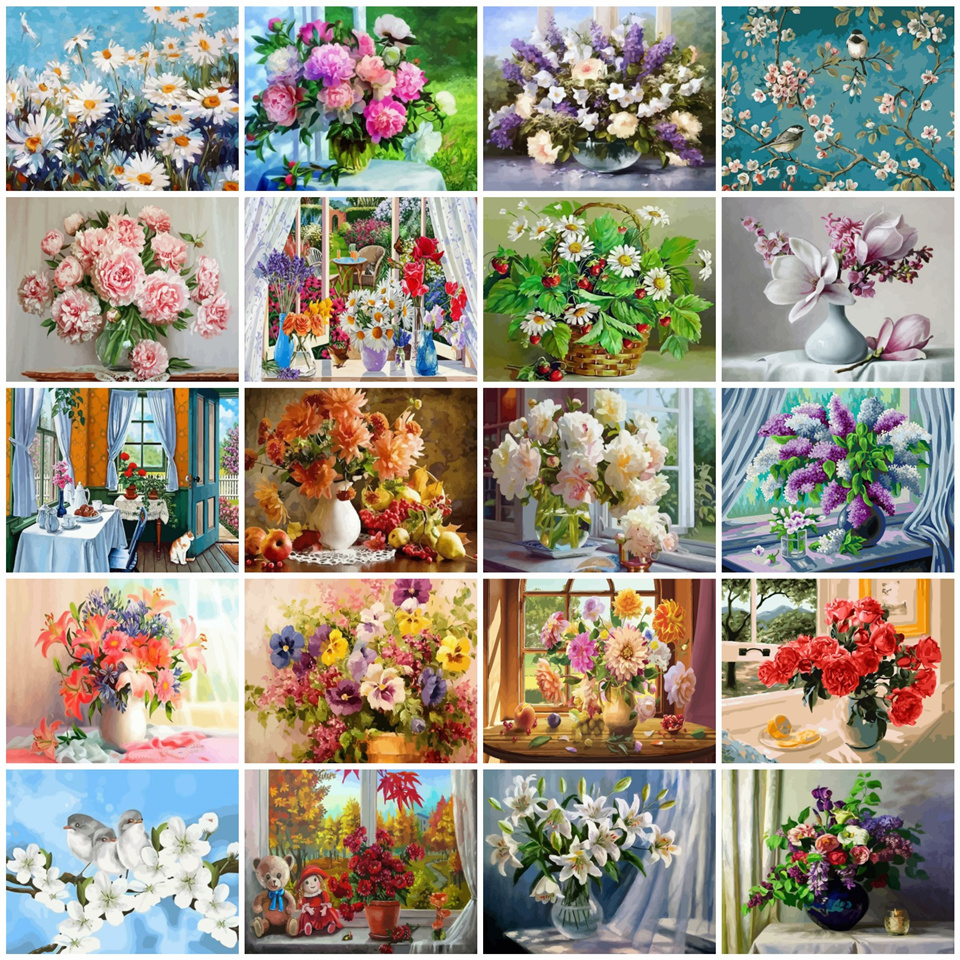 AZQSD Paints By Numbers Flowers Home Decoration Oil Painting By Numbers On Canvas Full Set DIY 50x40cm Handmade Gift(China)