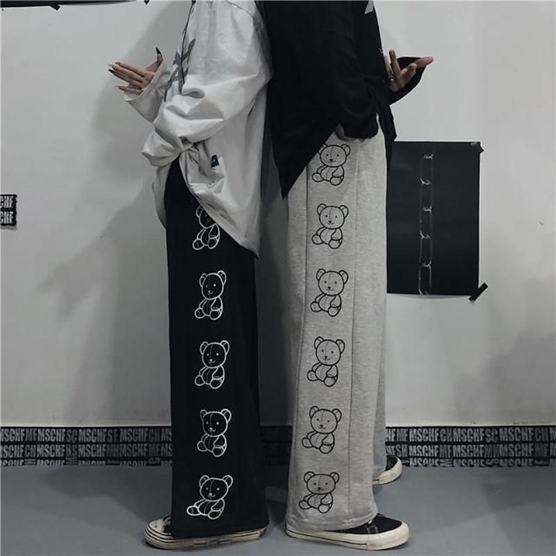 HOUZHOU Korean Style Wide Leg Pants Cartoon Print Harajuku Trousers Women Streetwear Autumn Fashion Streetwear Sweatpants Women 3