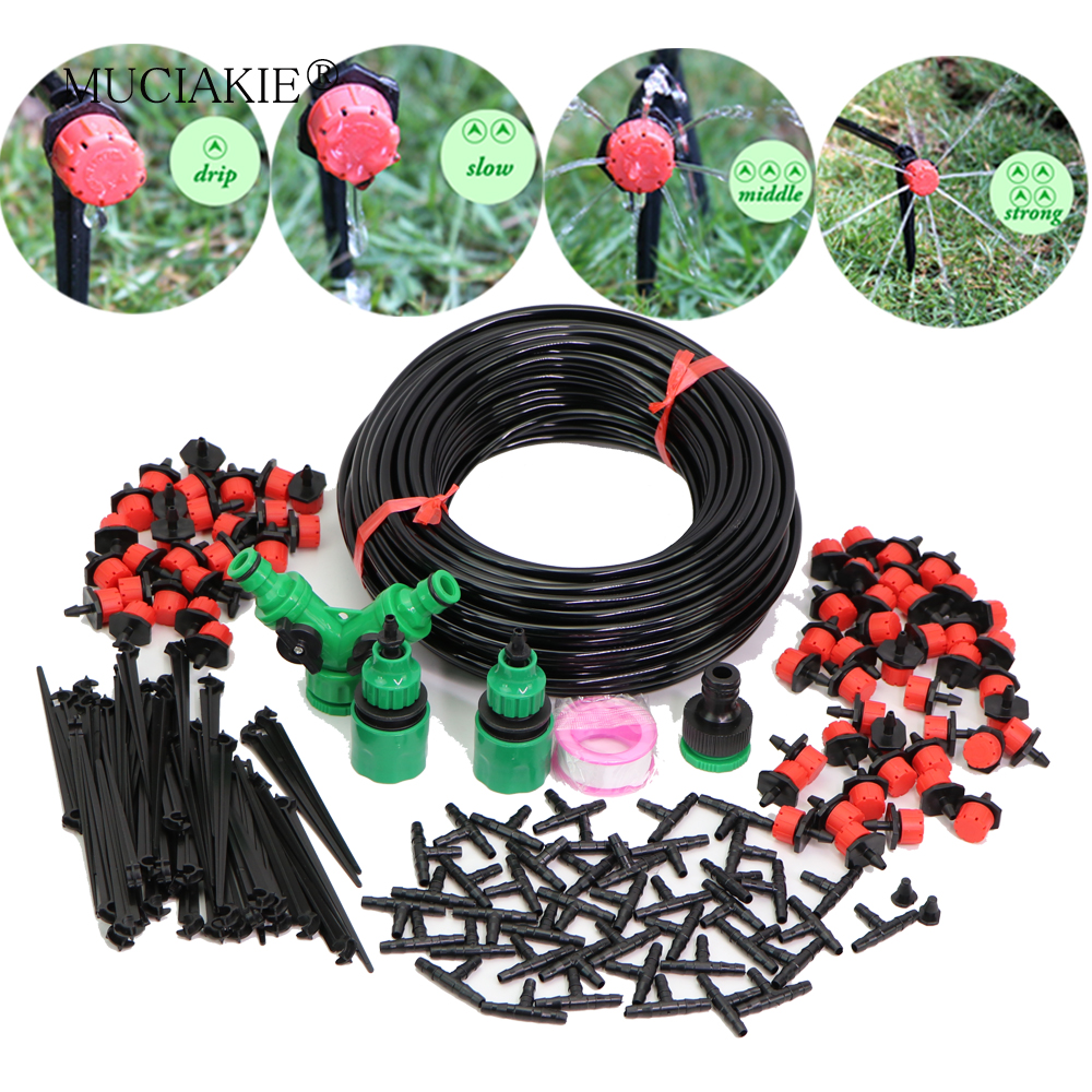 MUCIAKIE 5-50M 4/7mm Garden Watering Micro Adjustable Kits Drip Irrigation Automatic System PVC Hose Drippers
