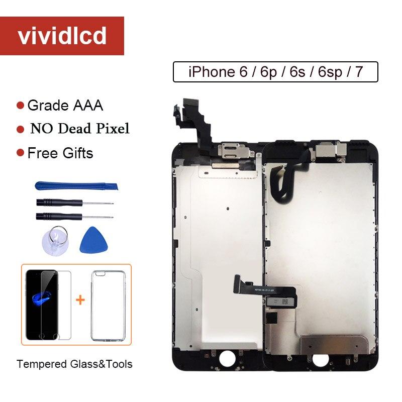 Класс AAA + + + экран для iPhone 6 6S Plus ЖК дигитайзер полная сборка для iPhone 7 дисплей для Apple с камерой ушной динамикЭкраны для мобильных телефонов   -