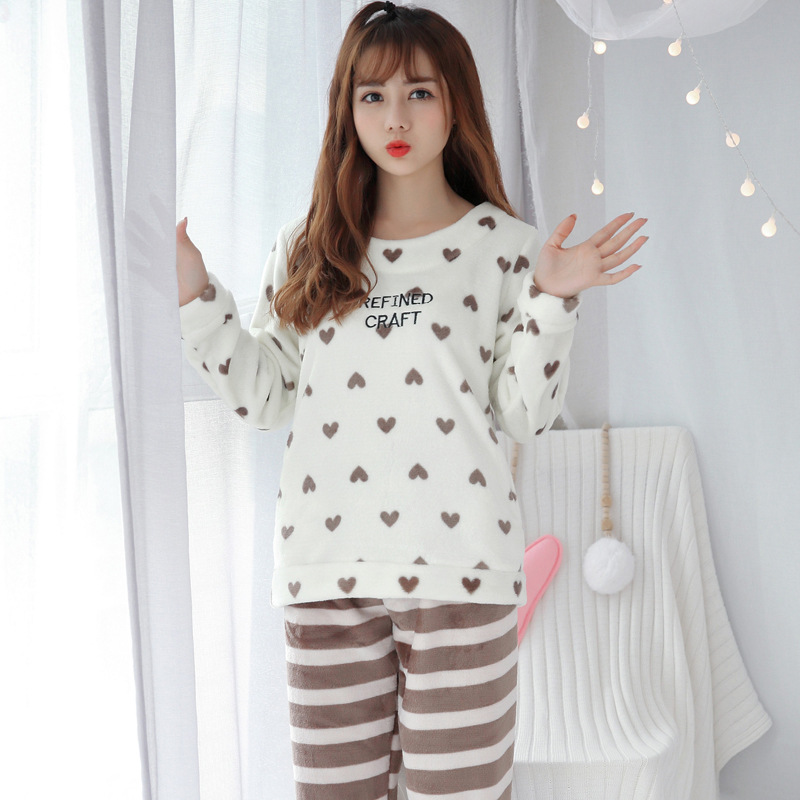 Hot Selling Autumn & Winter Korean-style New Style Thick Flannel Pajamas Heart Peach Cute Women's Casual Tracksuit WOMEN'S Suit