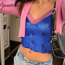 Sweetown Flower Print Summer Casual Tank Tops For Women Streetwear Fashion Lace Edge Sleeveless V Neck Sexy Female Crop Top Y2K