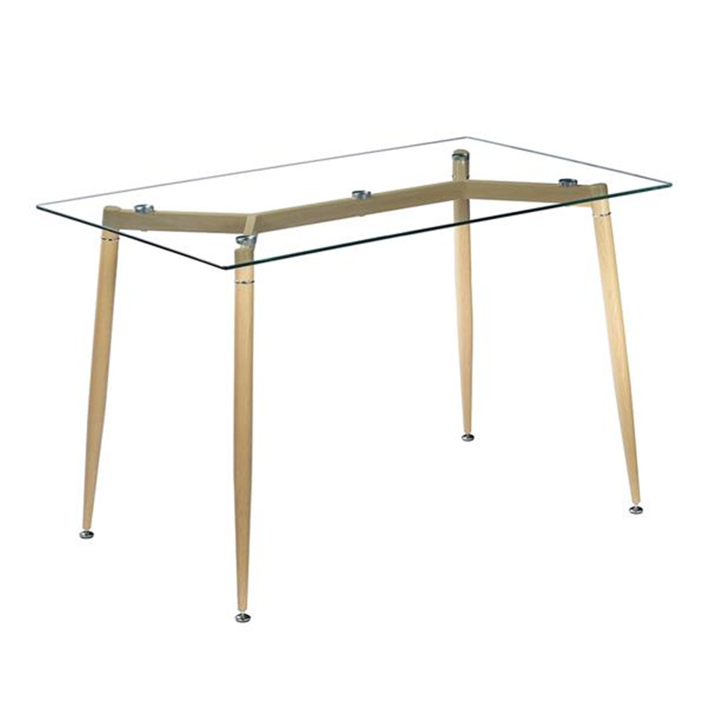 Simple Wood Grain Table Leg & Transparent Tempered Glass Dinner Table For Kitchen Without Chairs