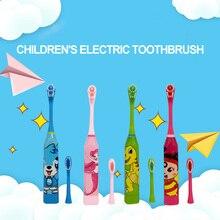 Детская электрическая зубная щетка, зубная щетка с мультипликационным рисунком, двухсторонняя зубная щетка, электрическая зубная щетка с аккумулятором для детей