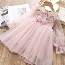 На весну для девочек сеточка, вышитая цветами платье принцессы детская одежда