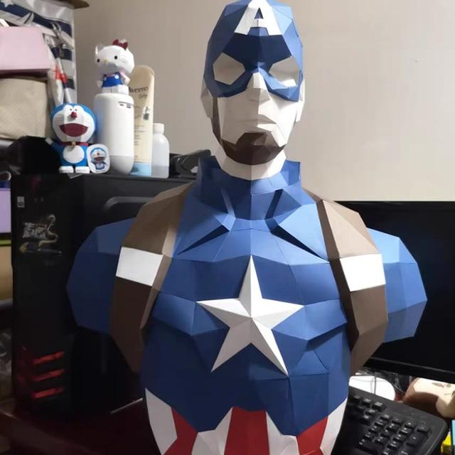 70cm 3D modelo de papel Spiderman Iron Man Batman Deadpool Capitán América Papercraft figuras de acción rompecabezas niños juguetes regalo
