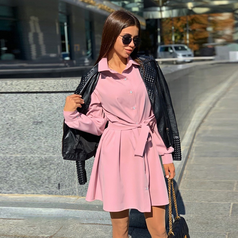 Women Vintage Sashes Front Button A-line Party Dress Long Sleeve Trun Down Collar Solid Elegant Dress 2020 Spring Fashion Dress