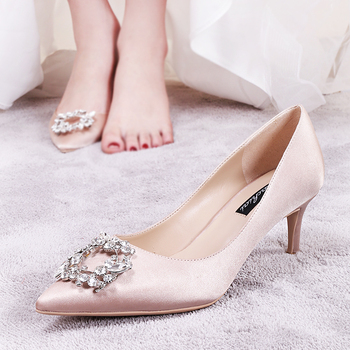 Women's wedding shoes new button diamond wedding dress high heels champagne dress bride shoes light mouth thin single shoes