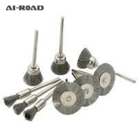 45 adet Mini paslanmaz çelik tel kupası karışımı fırça parlatma fırçası seti uyar Dremel döner aracı Metal parlatma aşındırıcı aletler