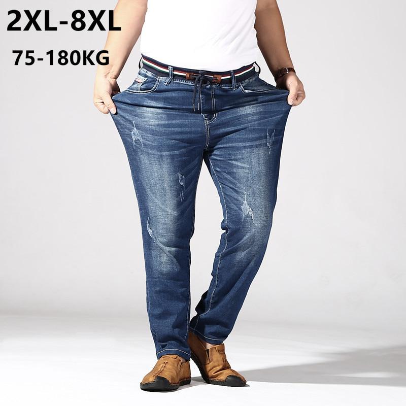 Big Size Jeans Men 6XL 7XL 8XL 180KG Clothes Trousers Homme Stretch Straight Loose Pants Denim Blue Plus Jean Brand Ripped Pant