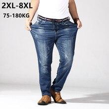 Calça Jeans Tamanho grande Homens 6XL 7XL 8XL 180KG Trecho Em Linha Reta Calças Soltas Denim Azul Além de Roupas Calças Homme Marca Jean Rasgado Calça
