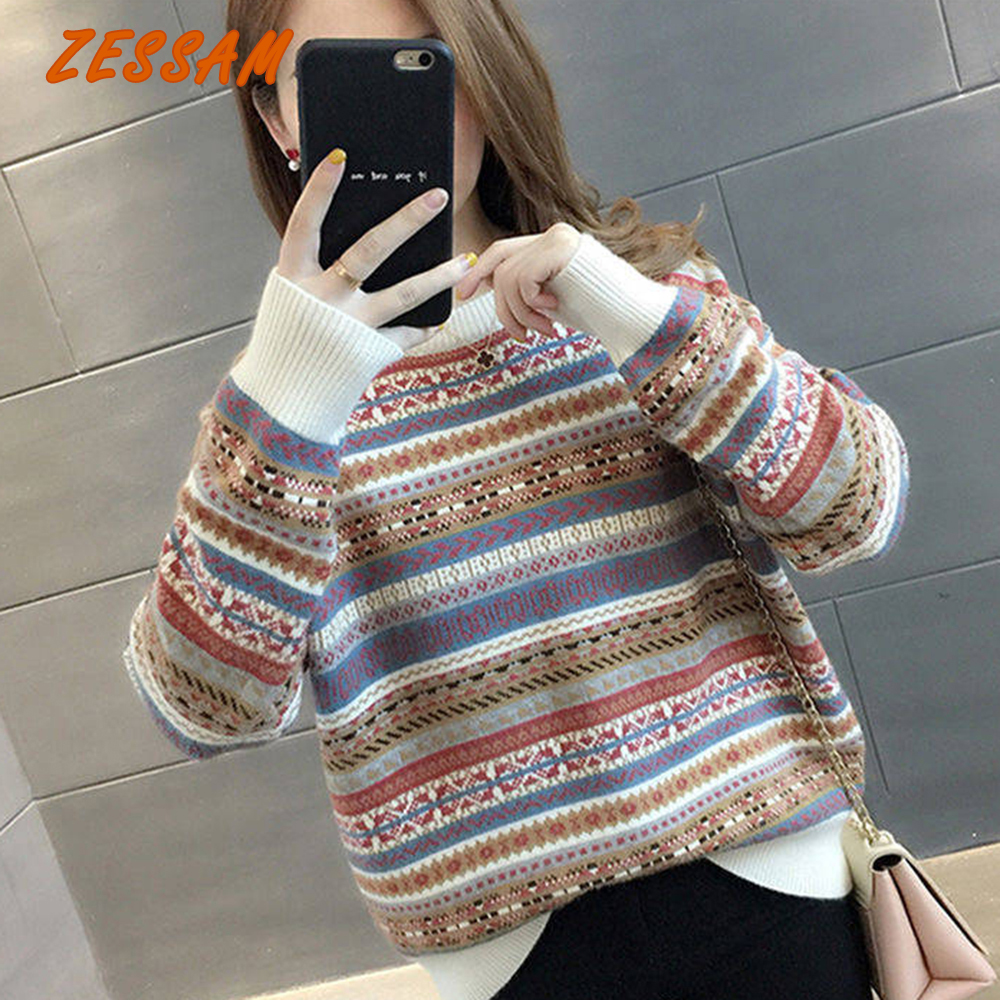 Zessam Stripes Fair Isle Knitted Women Pullover Sweater Vintage Sweater 2020 Female Jumper Streetwear Ladies Sweater