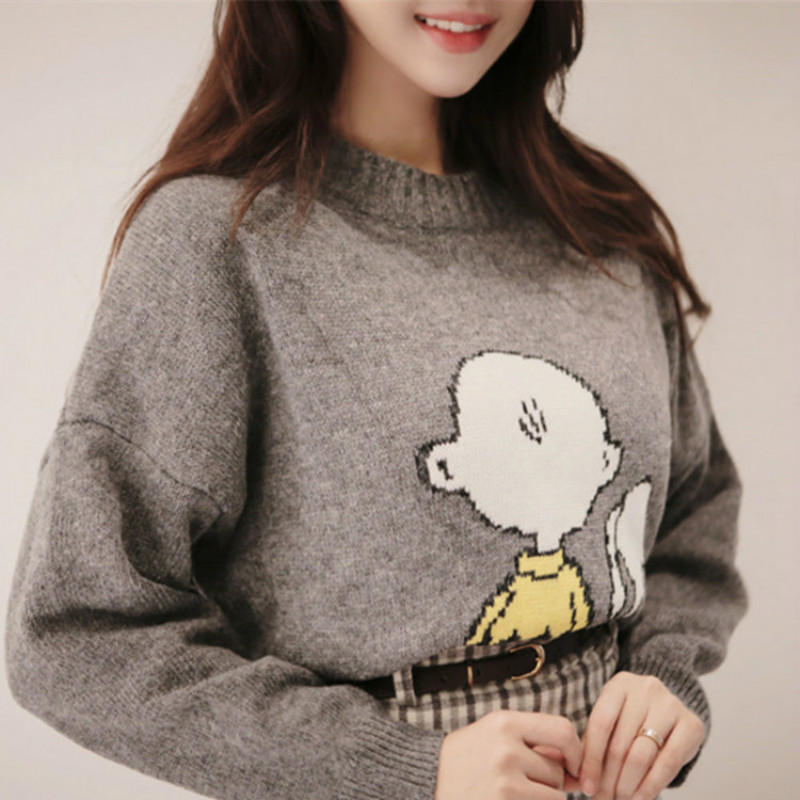 Women Autumn Winter Sweater Knitted Pullover Jersey Cartoon Snoopy Jumper Vintage Pull Femme Plus Size Sueter Mujer