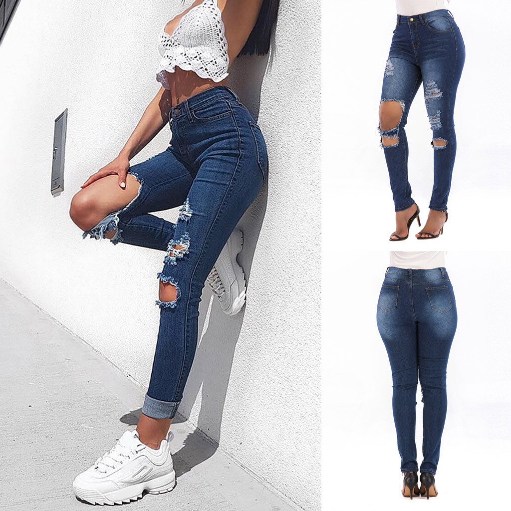 Fashion Ladys High Waisted Stretch Slim Jeans Casual Hole Pants Large Size ripped jeans for women джинсы с высокой талией