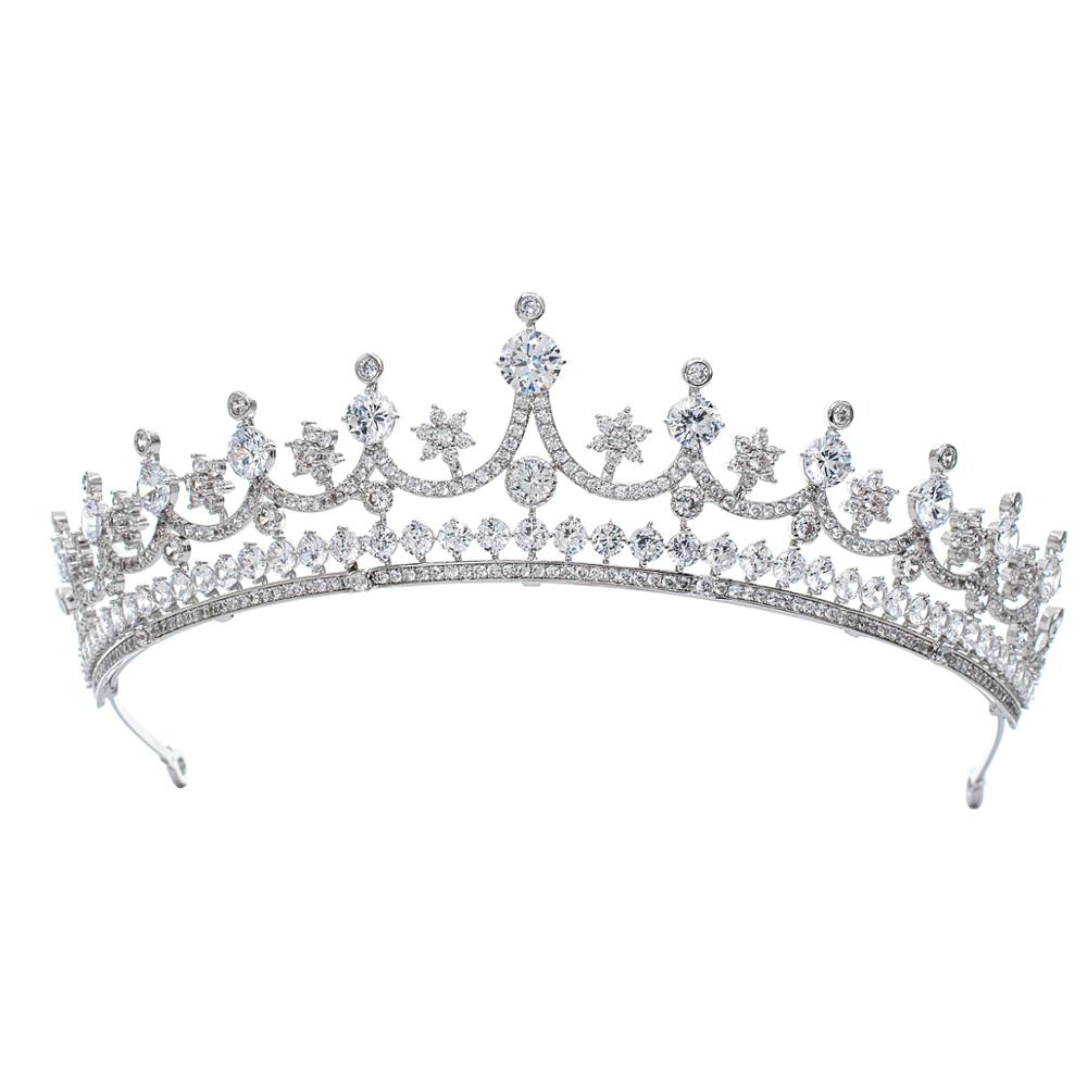 Classic Design Cubic Zirconia Princess Tiara Diadem For Bridal Wedding Hair Jewelry Accessories Hairpieces CH10342