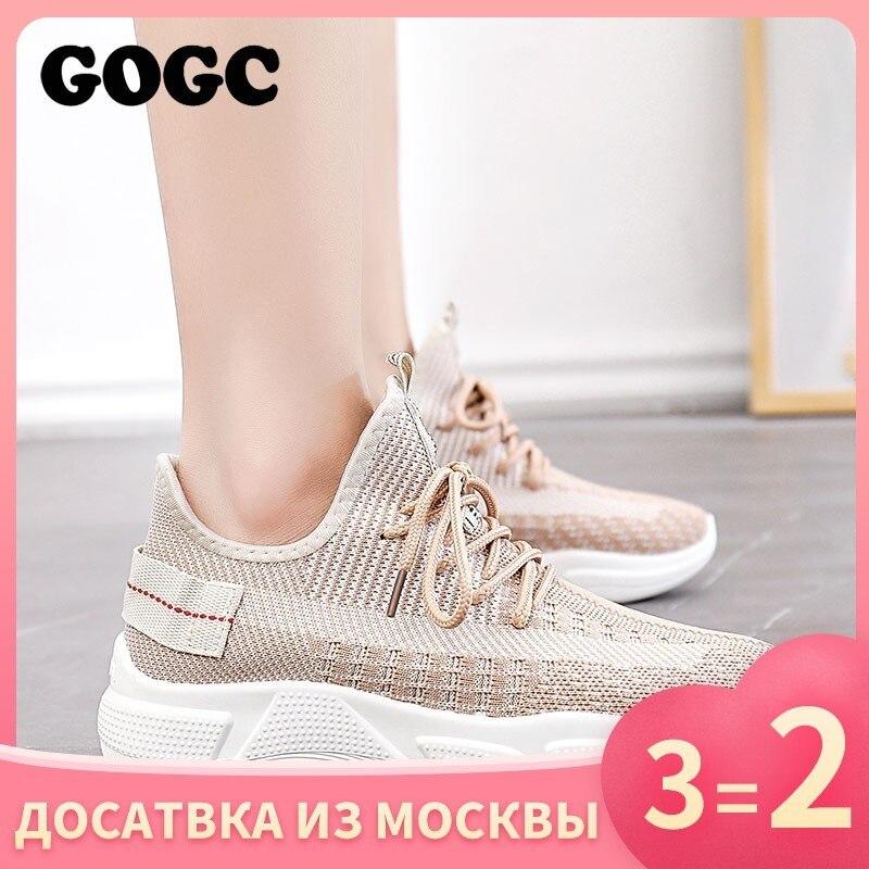 Gogc verão mulher tênis de malha sapatos plataforma feminina rendas até causal sapato para mulher cesta femme feminino sapato plano 691