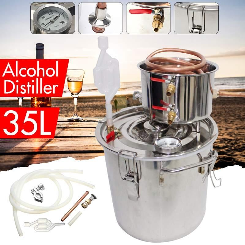 8/10/12/20/35L Distiller Moonshine Alkohol Stainless Tembaga Diy Rumah Anggur Minyak Esensial pembuatan Bir Kit