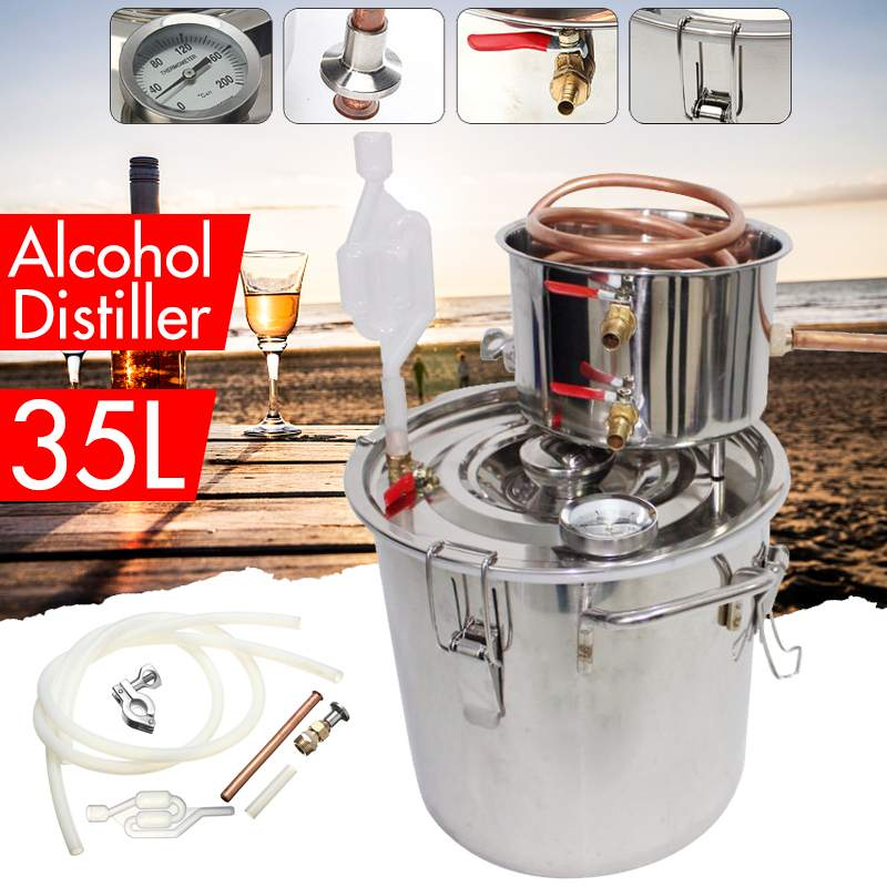 8/10/12/20/35l destilador moonshine álcool de cobre inoxidável diy kit de cerveja óleo essencial vinho água em casa