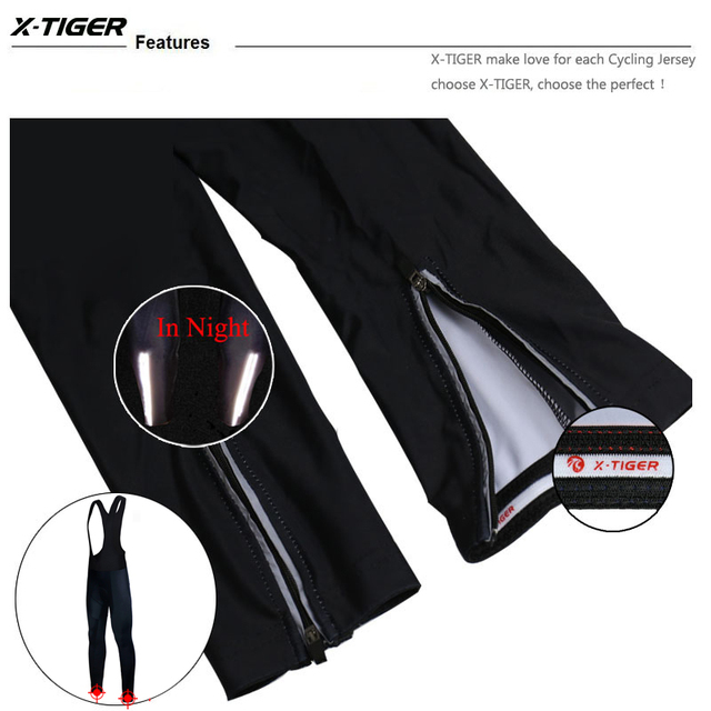 X-Tiger Winter Cycling Thermal Bib Pants With 3D Gel Pad Bicycle Quick-Dry Cycling Pants Keep Warm Whole Black MTB Bike Trousers 5