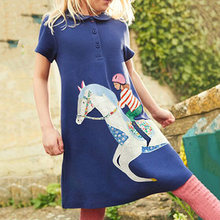 Summer 2021 New European American Style Children's Clothing Girls Dress Cute Embroidered Short Blue Fashion Dress College Style