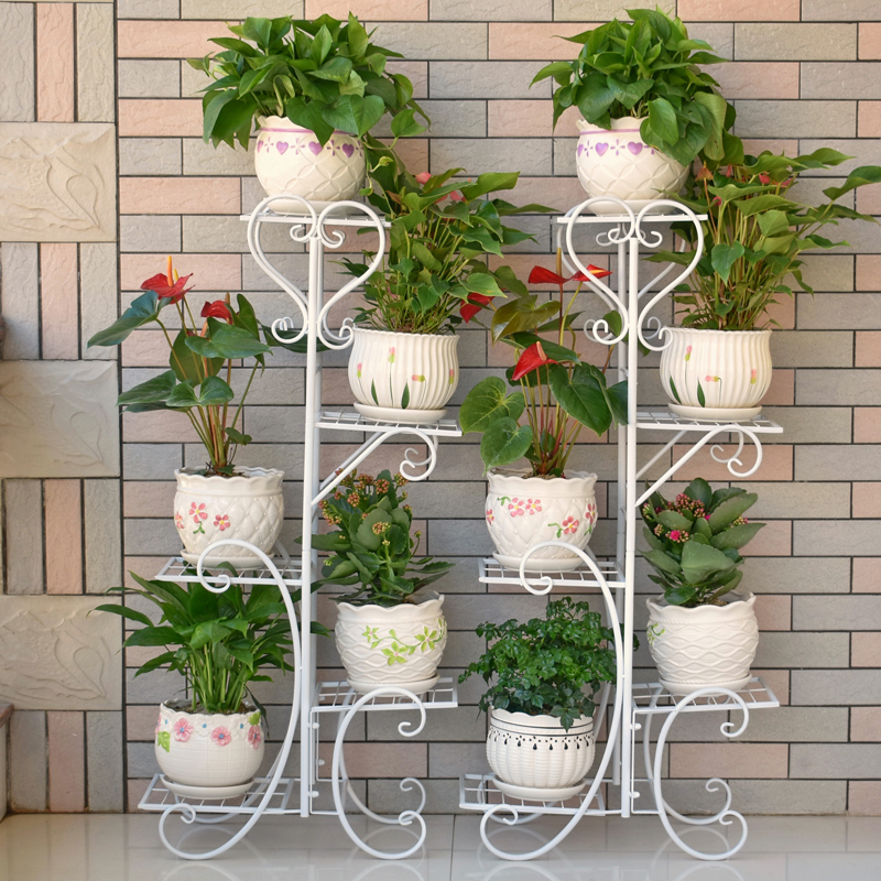 Flower Shelf Multi-storey Indoor Special Home Balcony Rack Wrought Iron Living Room Space Flower Pot Floor-standing Green Radish