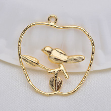 (33532) 6 Pcs 35 *25 Mm 24 K Gold Color Brass Branch bird Charms Pendants High Quality Diy Jewelry Accessories