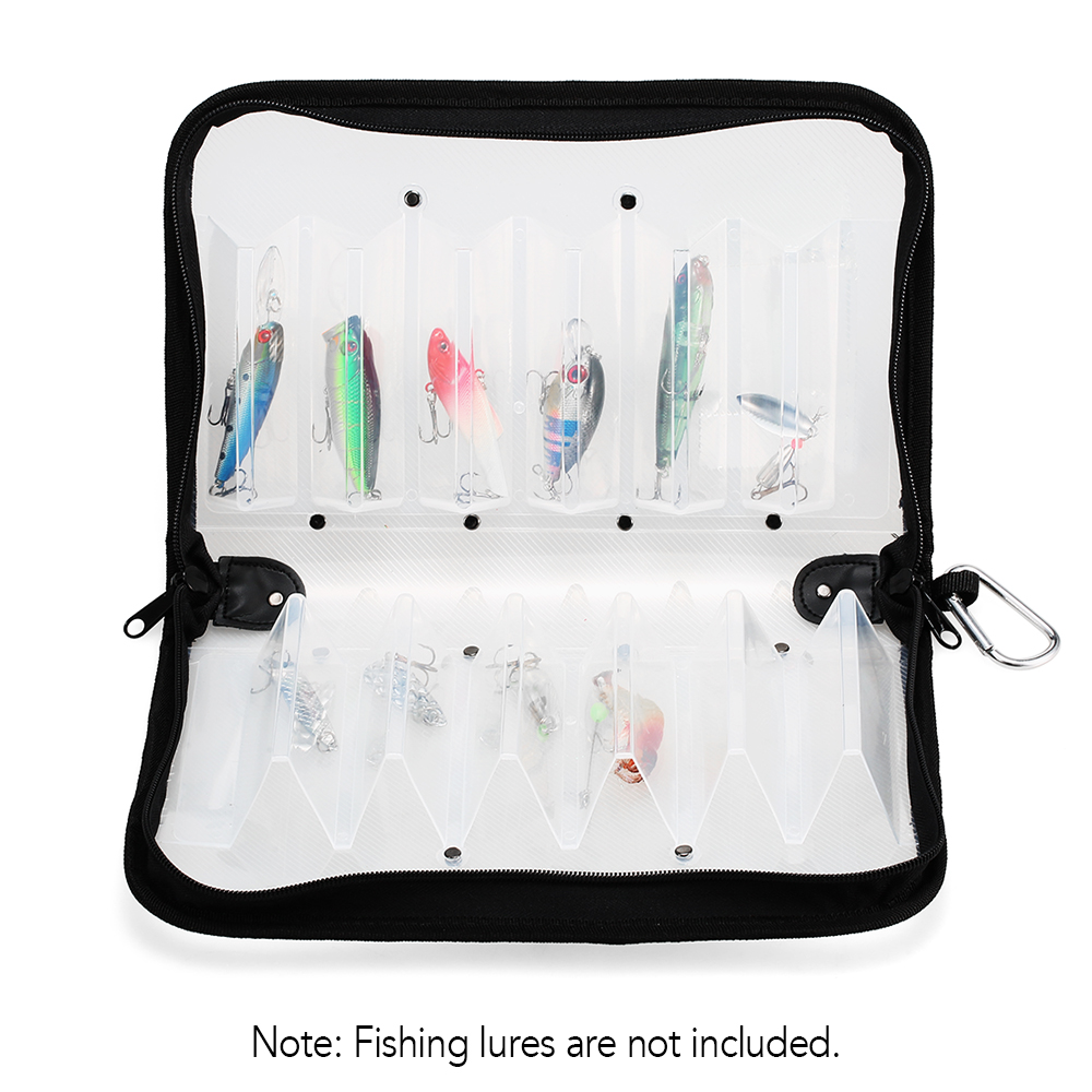 Waterproof Double Sided Fishing Lure Tackle Box Case for Squid Jig Hooks Storage Box Bag Case 12 Compartments|Fishing Tackle Boxes| |  - title=