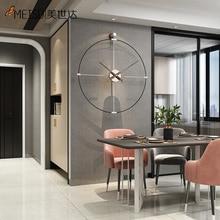MEISD самоклеящиеся металлические часы, большие качественные часы из кованого железа, кварцевые бесшумные часы для комнаты, съемный дизайн, б...