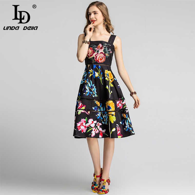 Ld Linda Della 2020 Fashion Runway Zomer Jurk Vrouwen Spaghetti Band Flowersequined Bloemenprint Holiday Party Elegante Jurk