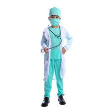 Dzieci lekarz kostium Cosplay szpital garsonka Up kostium na Halloween dla dzieci tanie tanio CN (pochodzenie) Top Coat Pants Face mask Stethoscope Hat Oryginalny Unisex Zestawy Other MN032 Poliester Kostiumy
