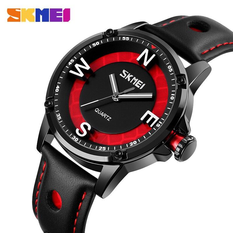 SKMEI Creative 3D Dial Watches Mens Fashion Quartz Wristwatches Men Luminous Pointer Leather Band Male Clock Reloj Hombre 9211