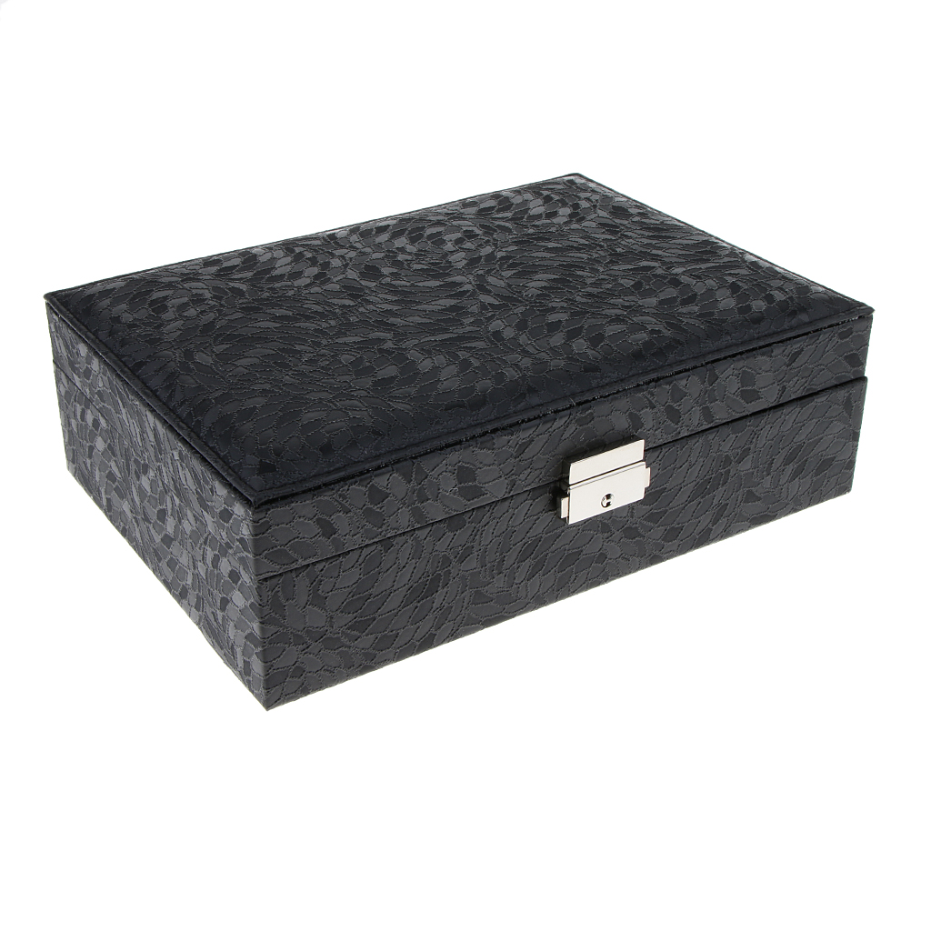 PU Leather Double Layer Jewelry Box Storage With Heart Shape Mirror
